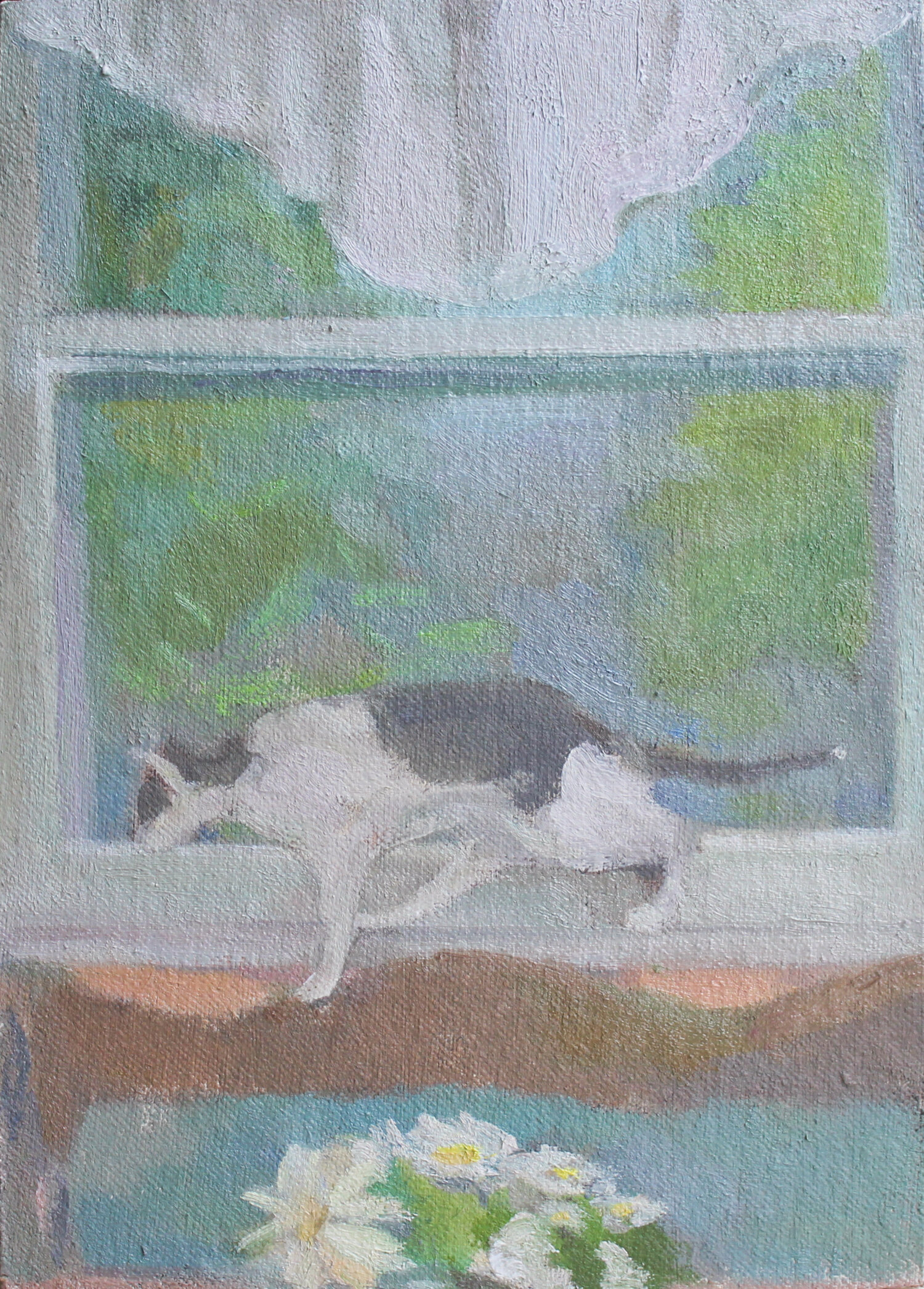 """Window View with Jacques, Daisies, and Valance  6 x 8.25"""" oil on mounted canvas 2019   purchase"""