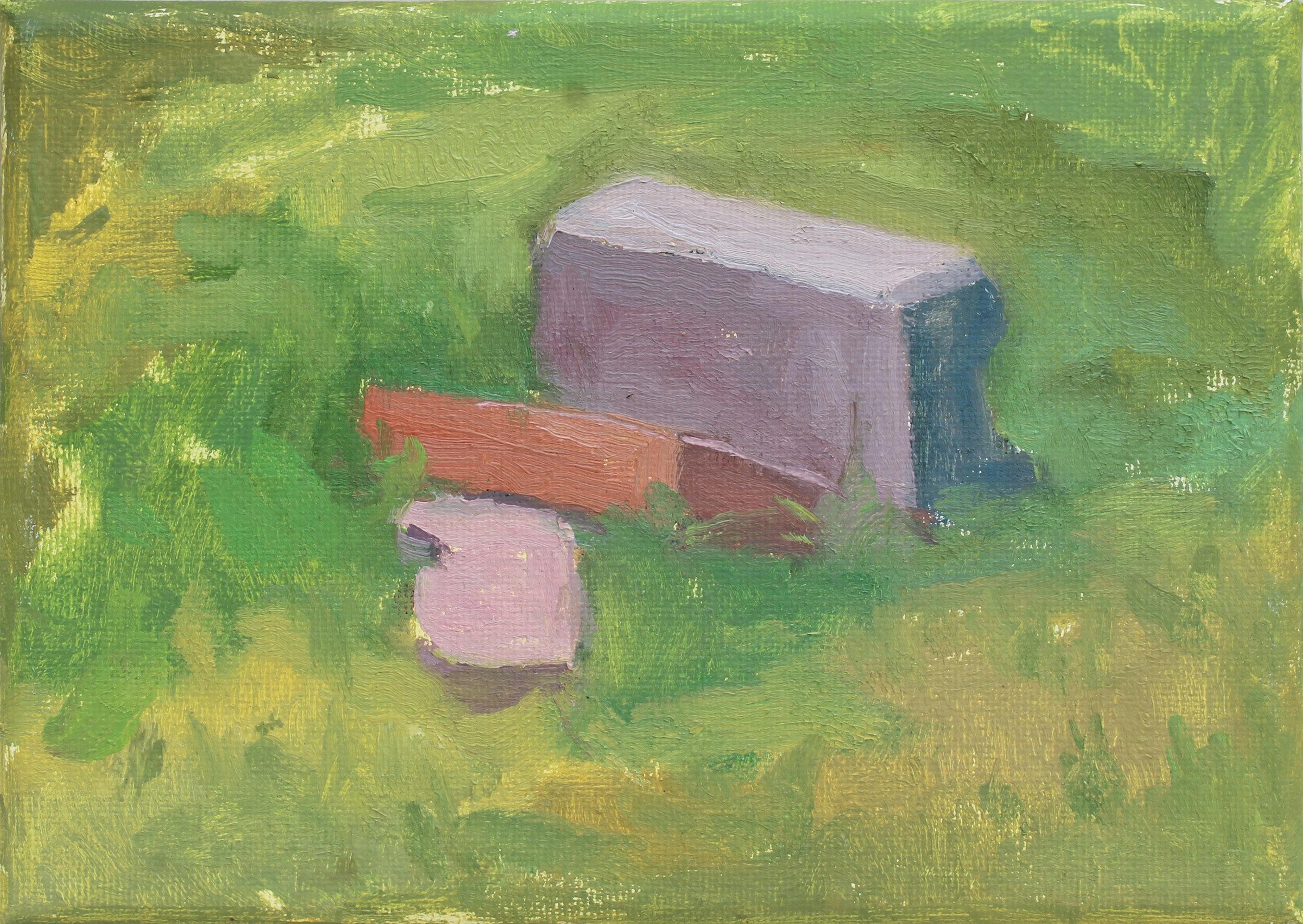 "Summer Grass, Three Bricks  oil on canvas 5x7"" 2019   available"