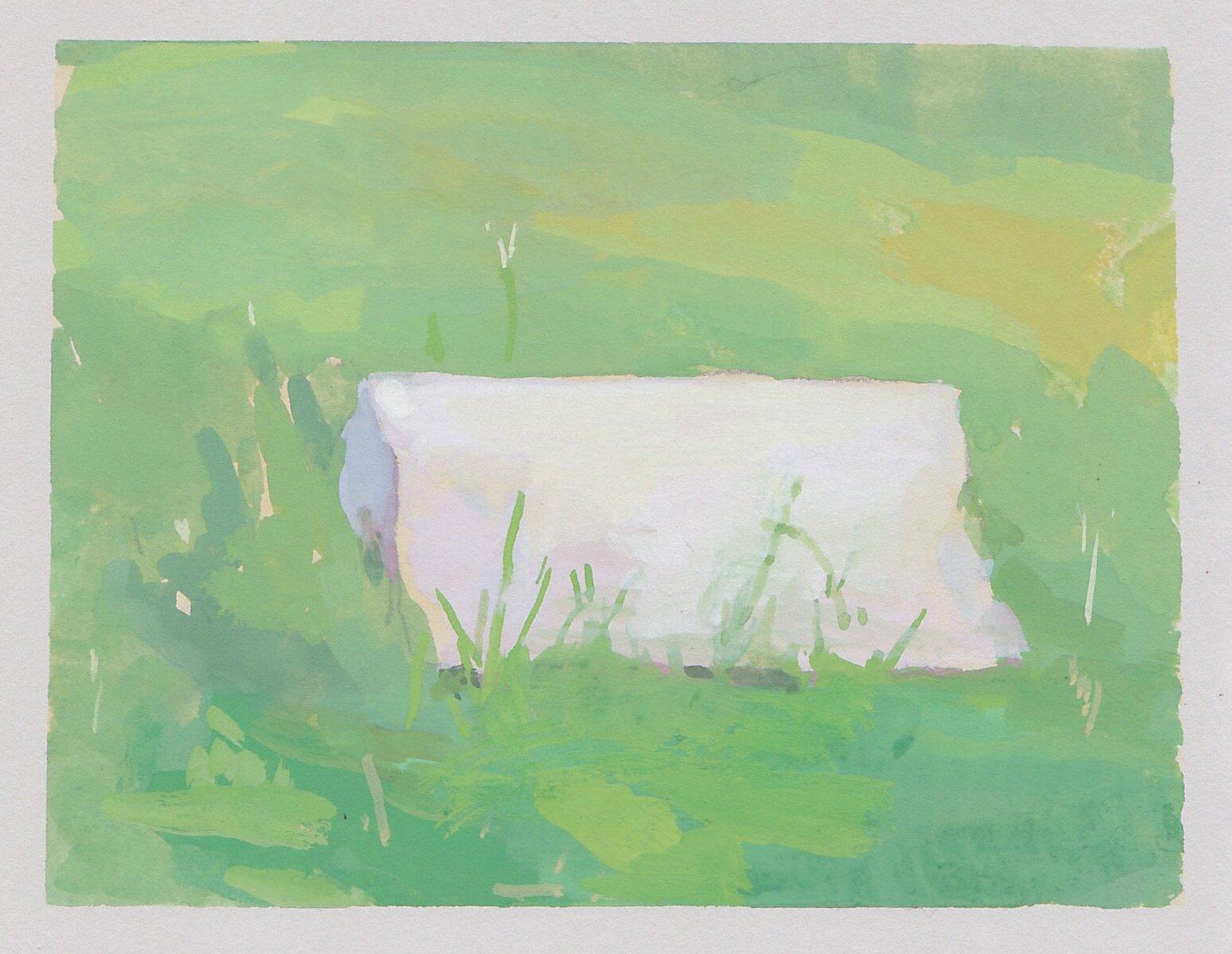 "untitled (brick)  gouache on paper 3.5 x 4.75"" 2019  private collection Newport Beach, CA"