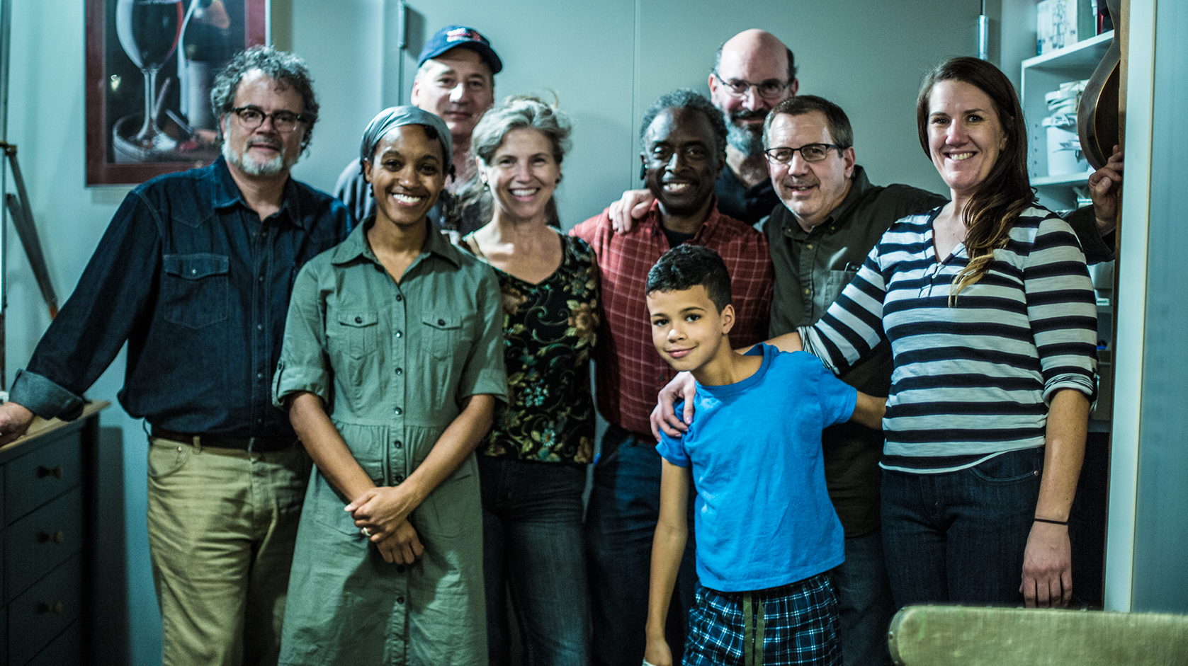 At the Wrap: Some of the cast & crew of Peach Pie. Front row: Robin JaVonne Smith, Jalon, and Meghann, Jalon's Mom. Second row: Howard Philips, Kathryn Howell, Roberto Mighty, Richard Fomo. Third row: Daniel Jacobs, Chuck Green. Not pictured: Brian Galford, Chuck Rosina, Diane Andronica, Jacoby, Johnny Quinones, Shawn Read & Tim Ouillette (he took the photo)