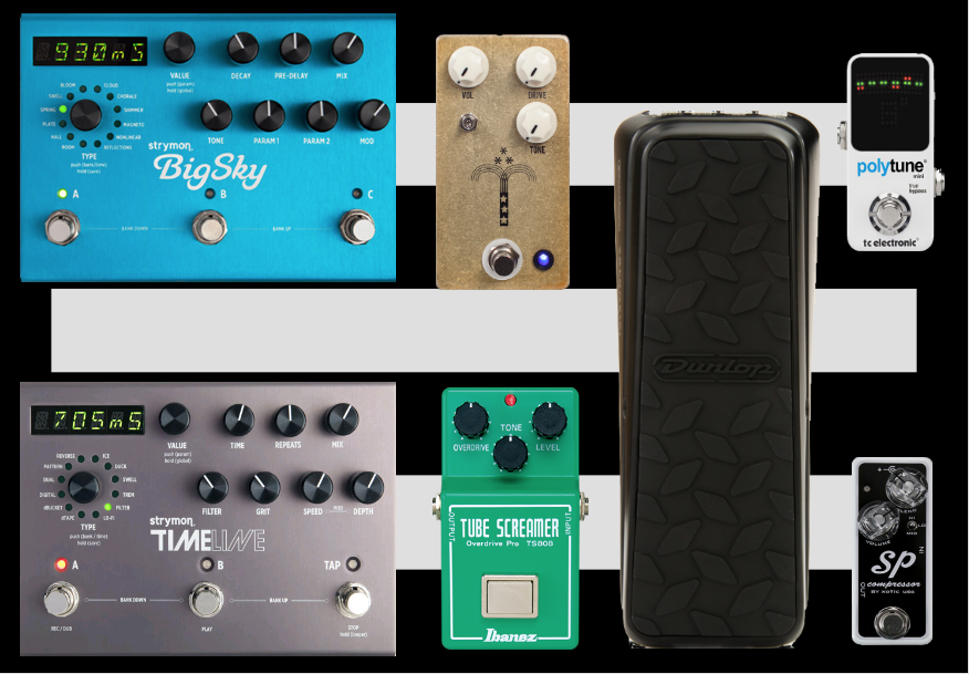 Larger Example with Xotic SP Compressor, JHS Morning Glory, Ibanez Tubescreamer, Strymon Timeline, and Strymon Big Sky