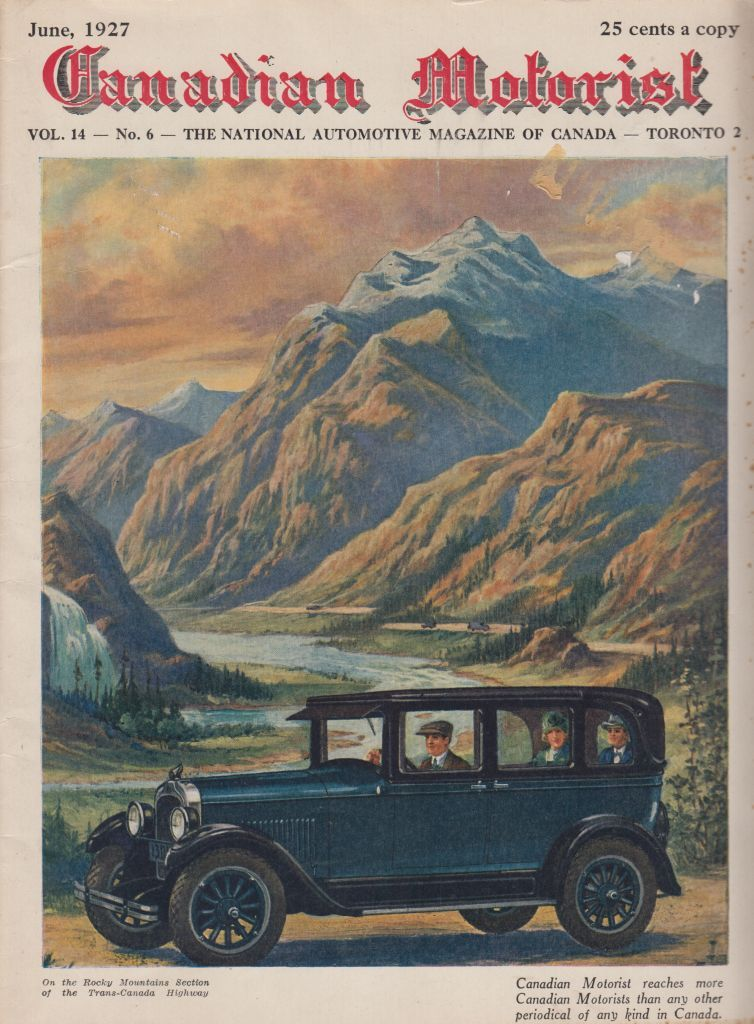 Cover of  Canadian Motorist,  June 1927 . Collection of the Canadian Automotive Museum.