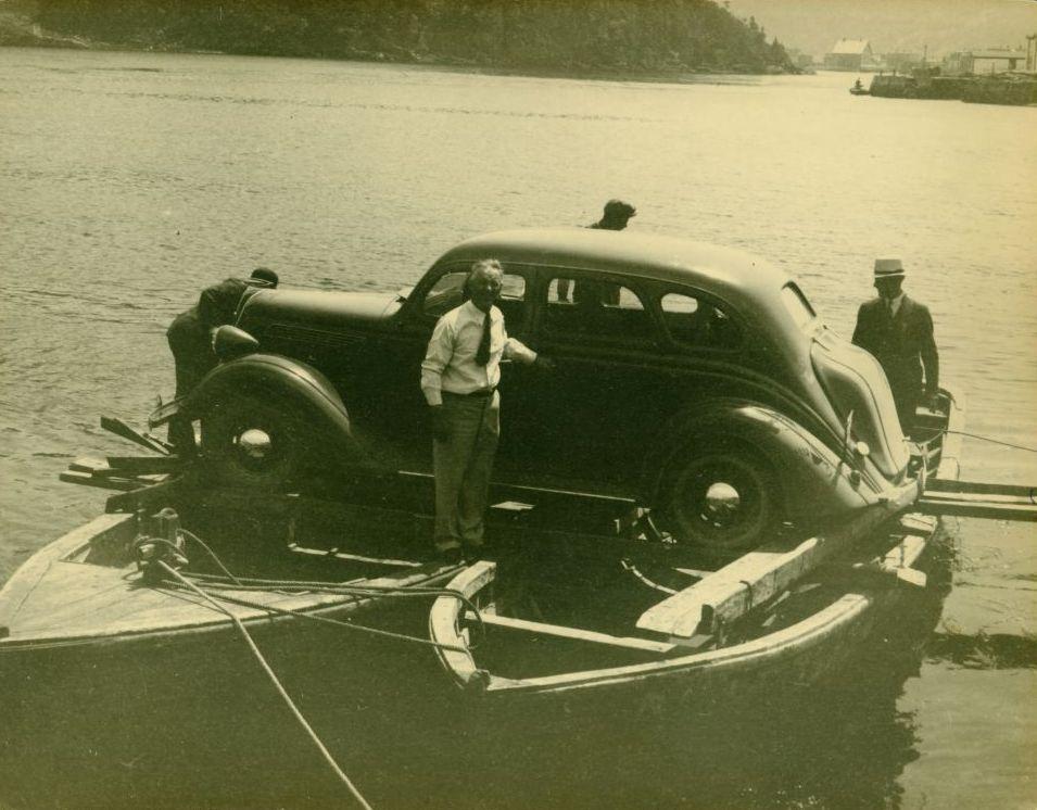 "A ""ferry"" across Placentia Gut, St. John's, Newfoundland, 1938 . The Rooms, VA 7-55."