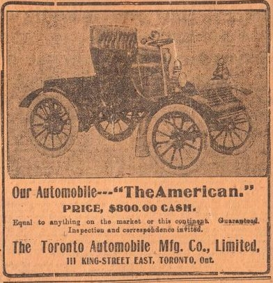 Toronto Automobile Co. advertisement, Toronto World, June 11, 1904.  Collection of the Canadian Automotive Museum.