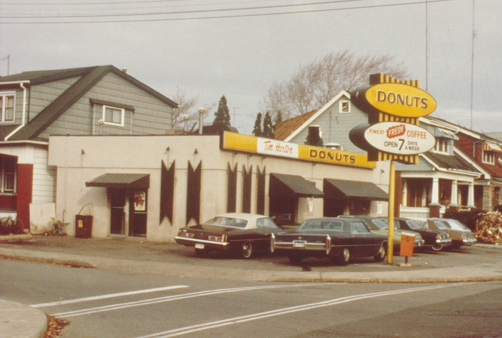 Coffee and donuts are constant features of Canada's car culture thanks to the Tim Hortons chain, founded in 1964 in Hamilton, Ont.The first Tim Hortons restaurant, Hamilton, Ontario . Image courtesy of Tim Hortons.