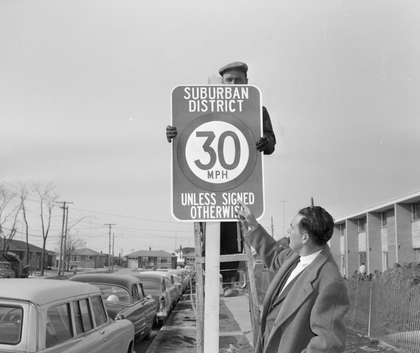 A Suburban District speed limit sign in North York, Ontario., c.1963 . City of Toronto Archives, fonds 217, series 249, item 182.