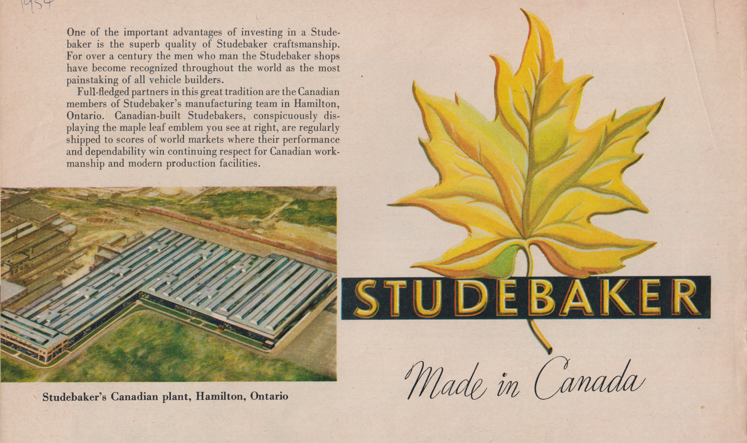 Studebakers were produced in Hamilton, Ontario, from 1948 to 1966. Studebaker brochure, 1954. Collection of the Canadian Automotive Museum.