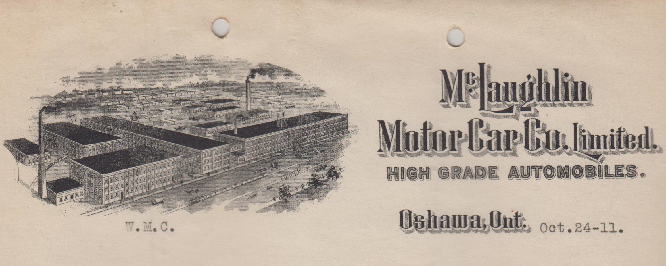 McLaughlin Motor Car Co. Ltd. letterhead, Osahwa, Ontario, 1911. Collection of the Oshawa Public Libraries.
