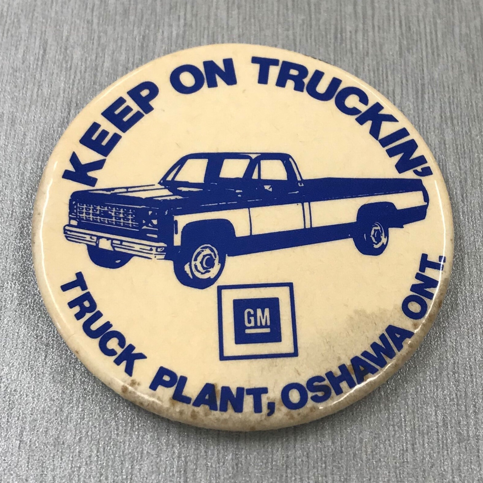 GM Truck Plant pin. Collection of the Oshawa Museum.