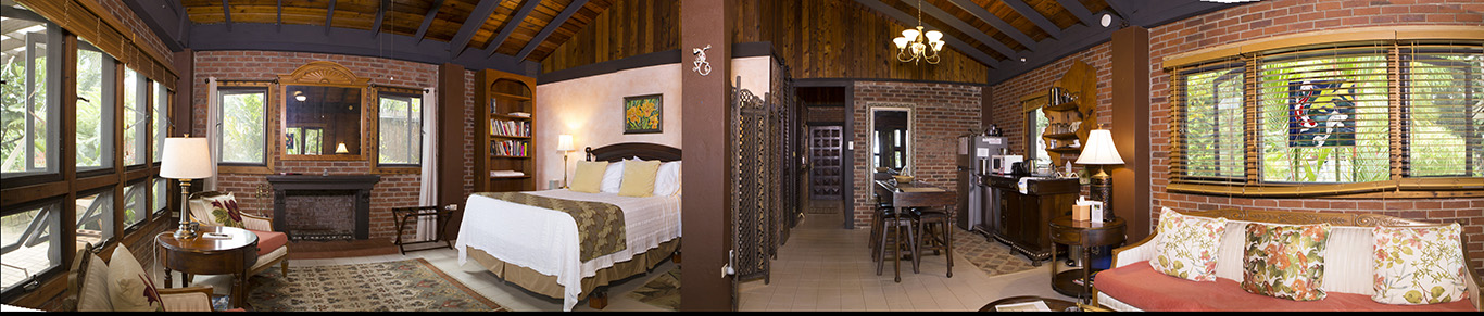 A panorama of the Rainforest Inn's two-bedroom Villa.
