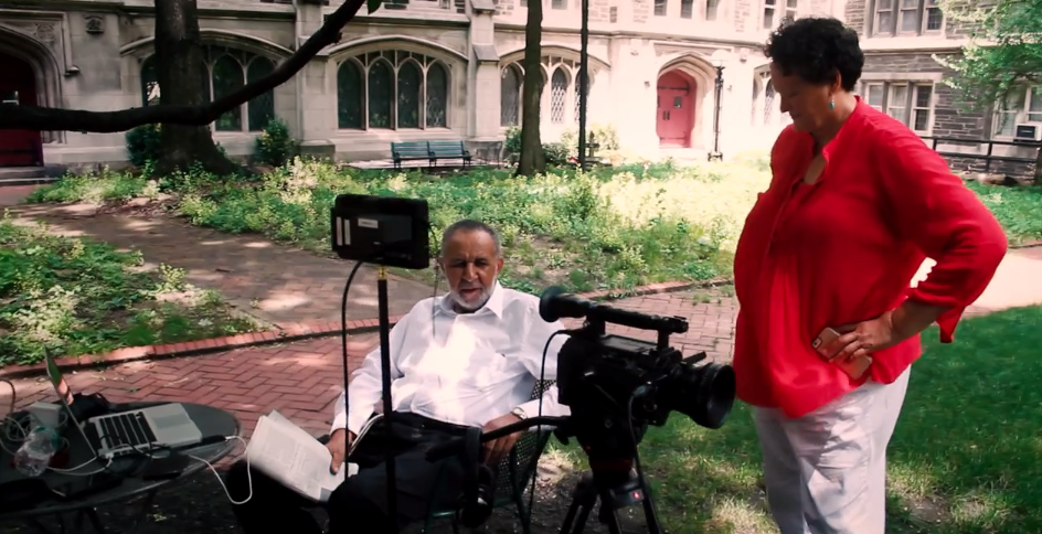 Gil and Marilyn on a film location for the documentary FROM SELMA TO STONEWALL.