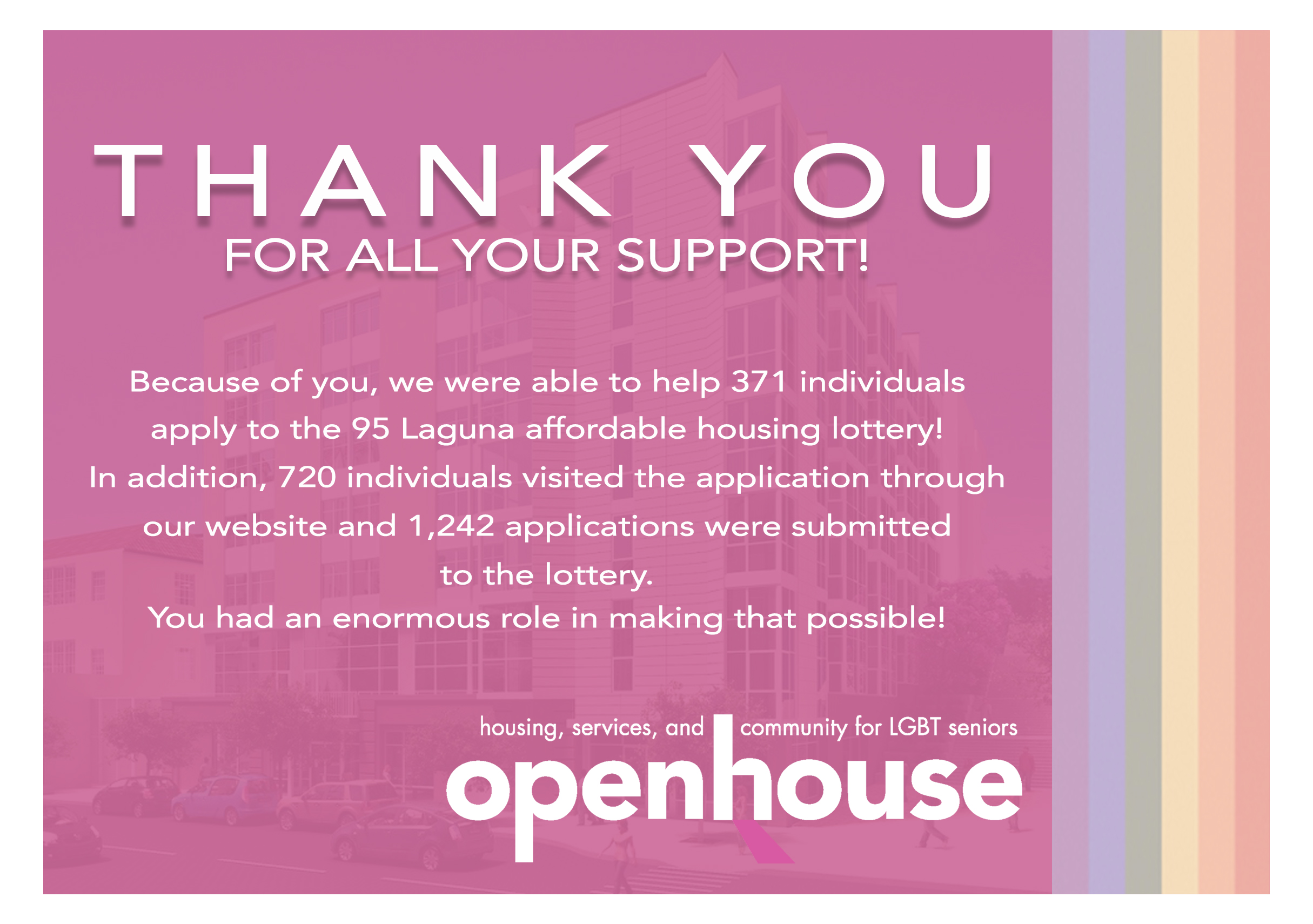 Thank you card I designed for volunteers who supported us in helping LGBTQ elders apply to our 95 Laguna (in partnership with Mercy Housing) affordable housing lottery.