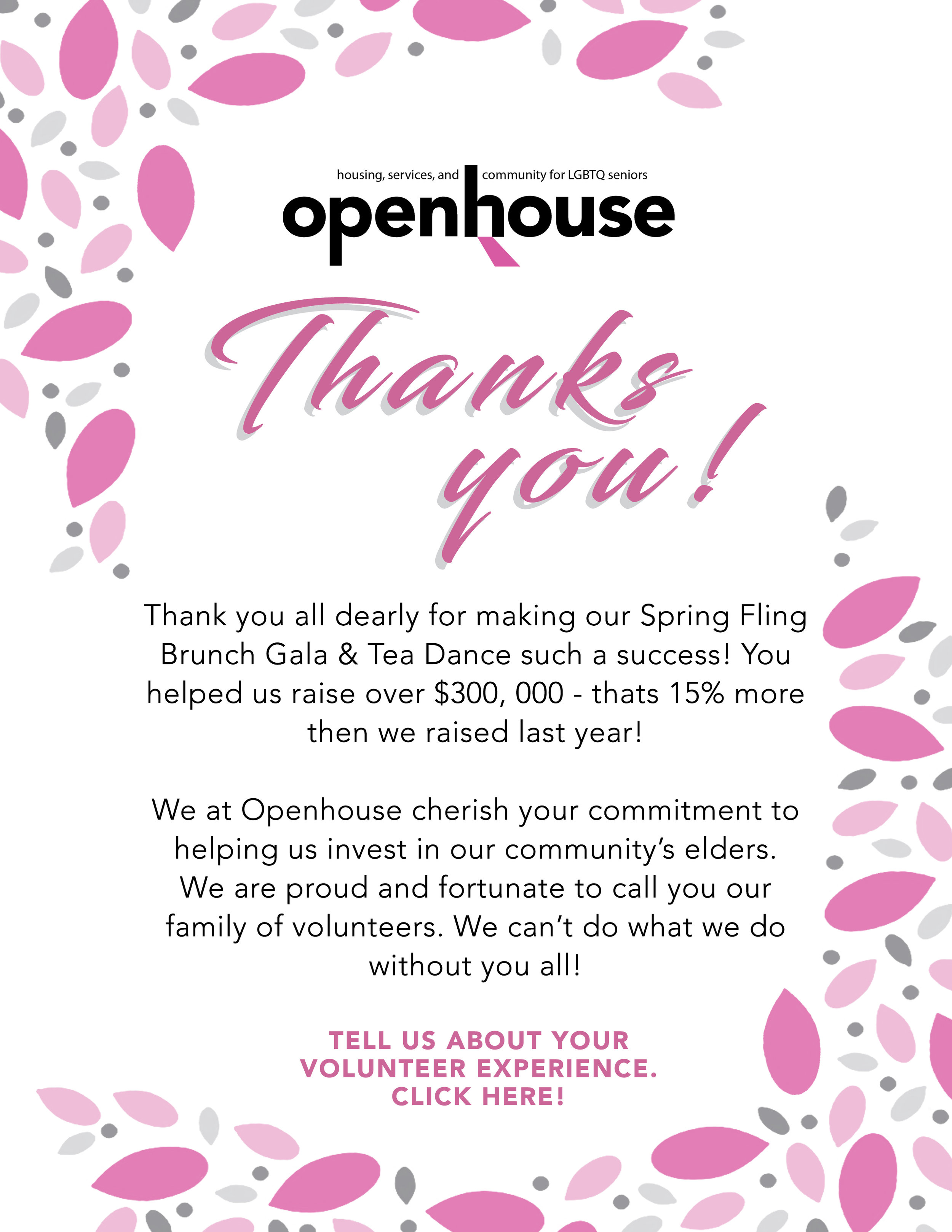 Thank you card I designed for volunteers who supported us during our 2019 Spring Fling Gala.