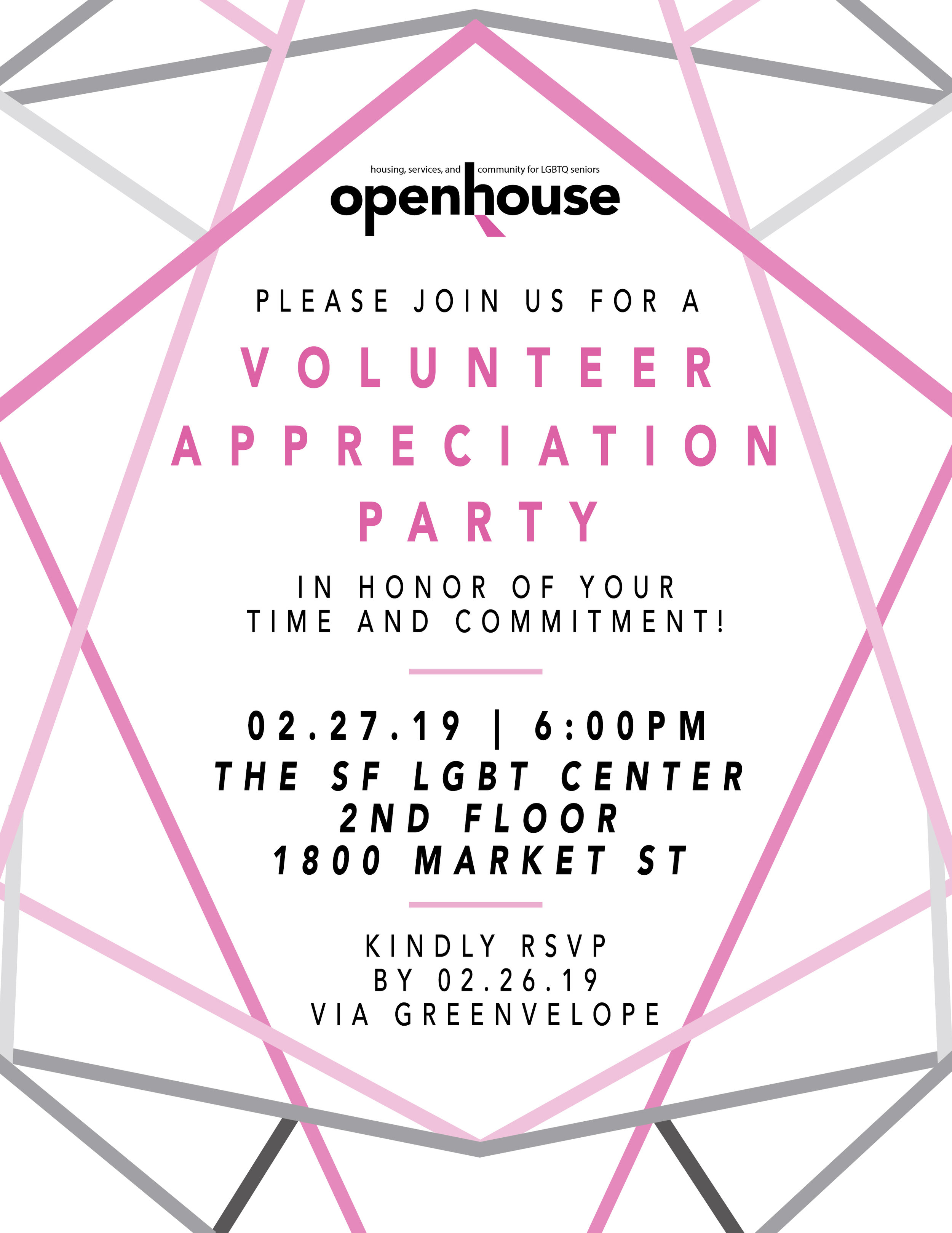 Invitation I designed for the first Volunteer Appreciation Party at Openhouse.