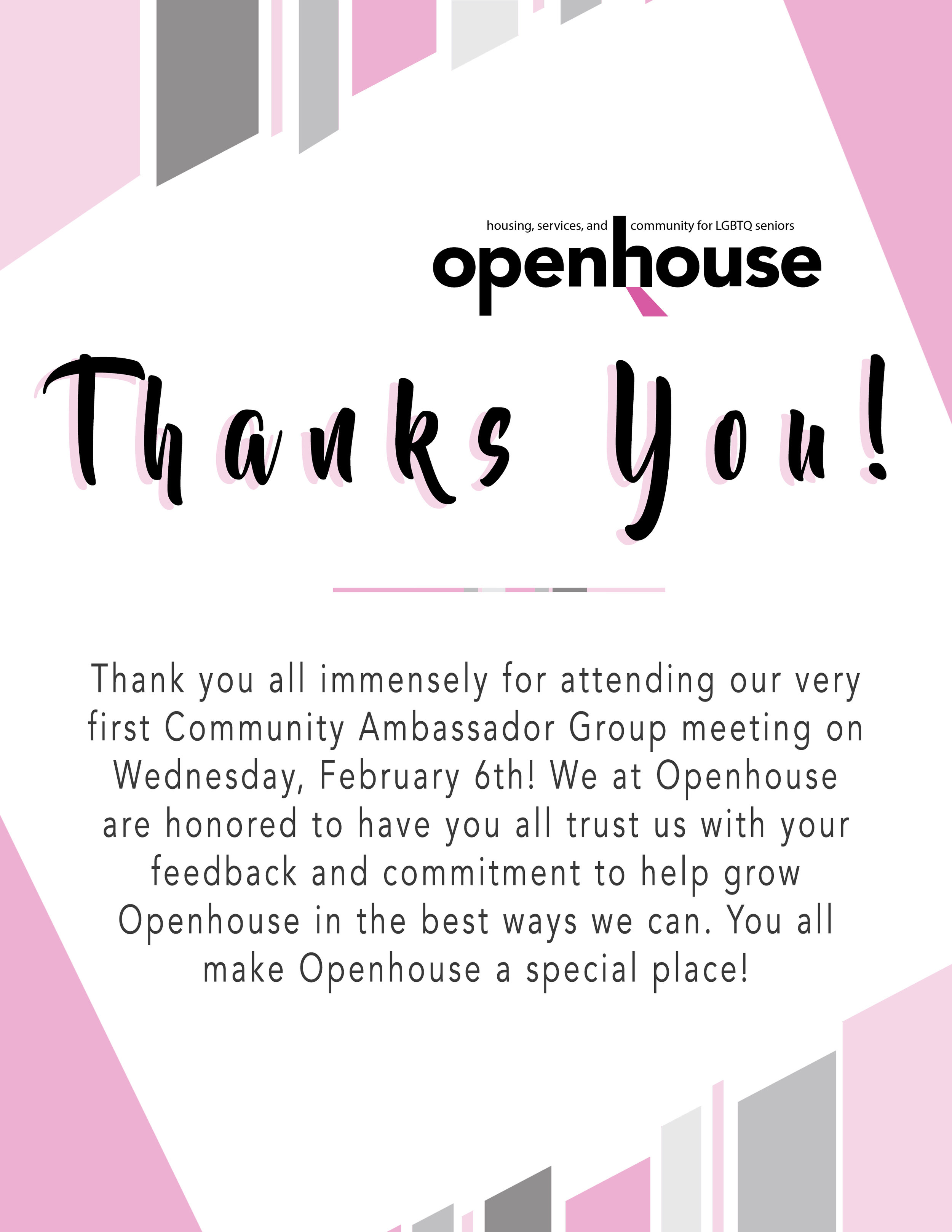 Thank you card I designed for our Community Ambassador Group which I facilitate.