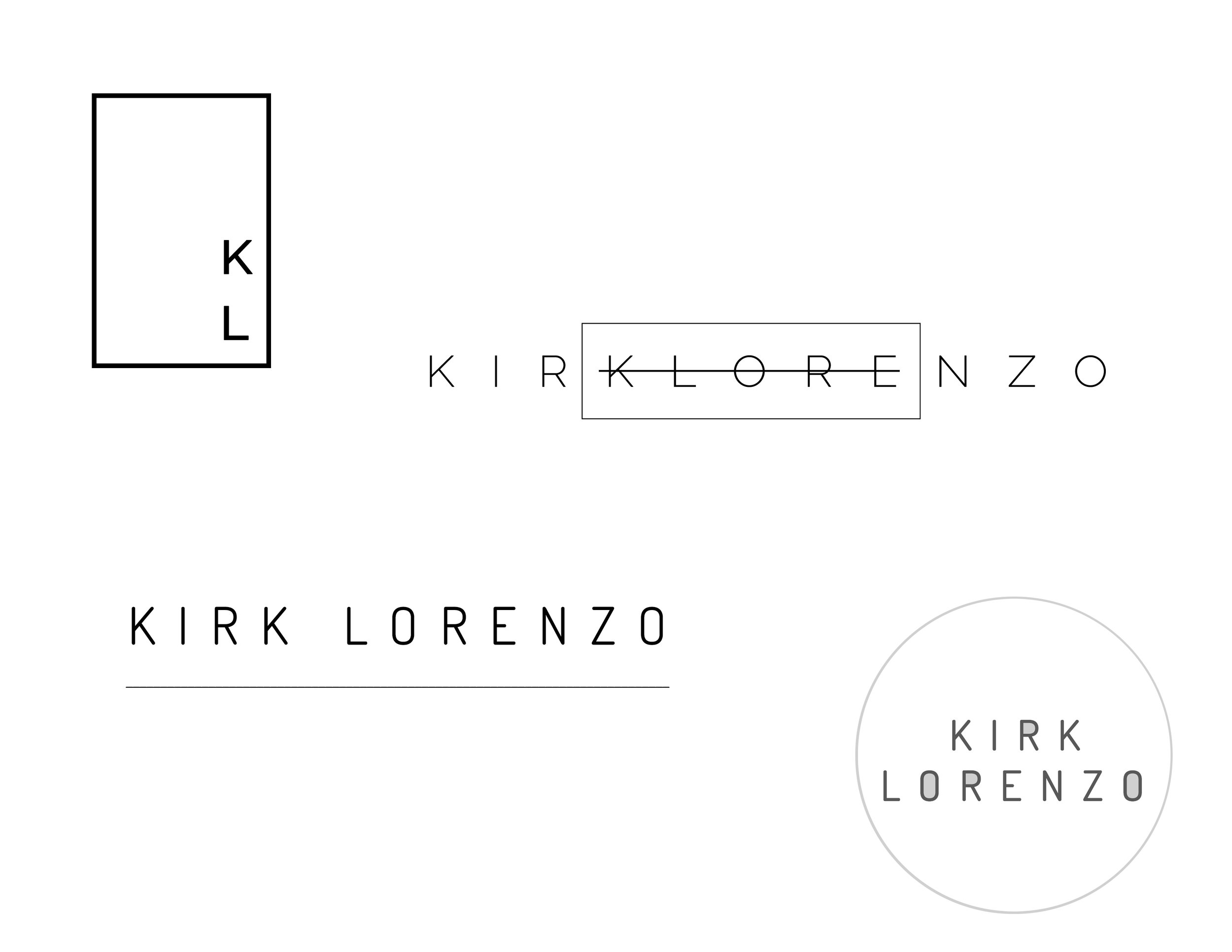 Logo history and variations for Kirk Lorenzo.