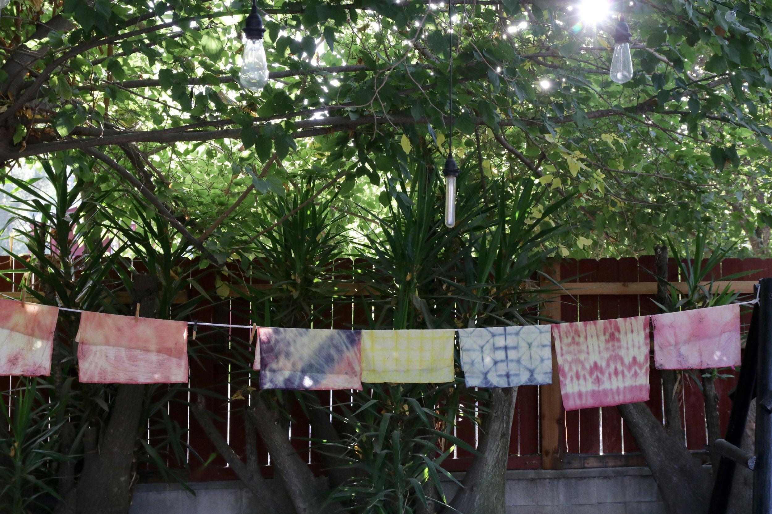 Final project: simple shibori-style handkerchiefs.