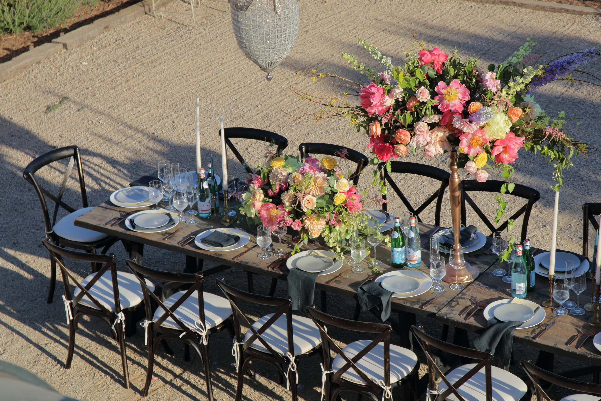 Courtyard view at Sunstone Villa.Flowers by Jaime Sanchez of  Casa Blanca .