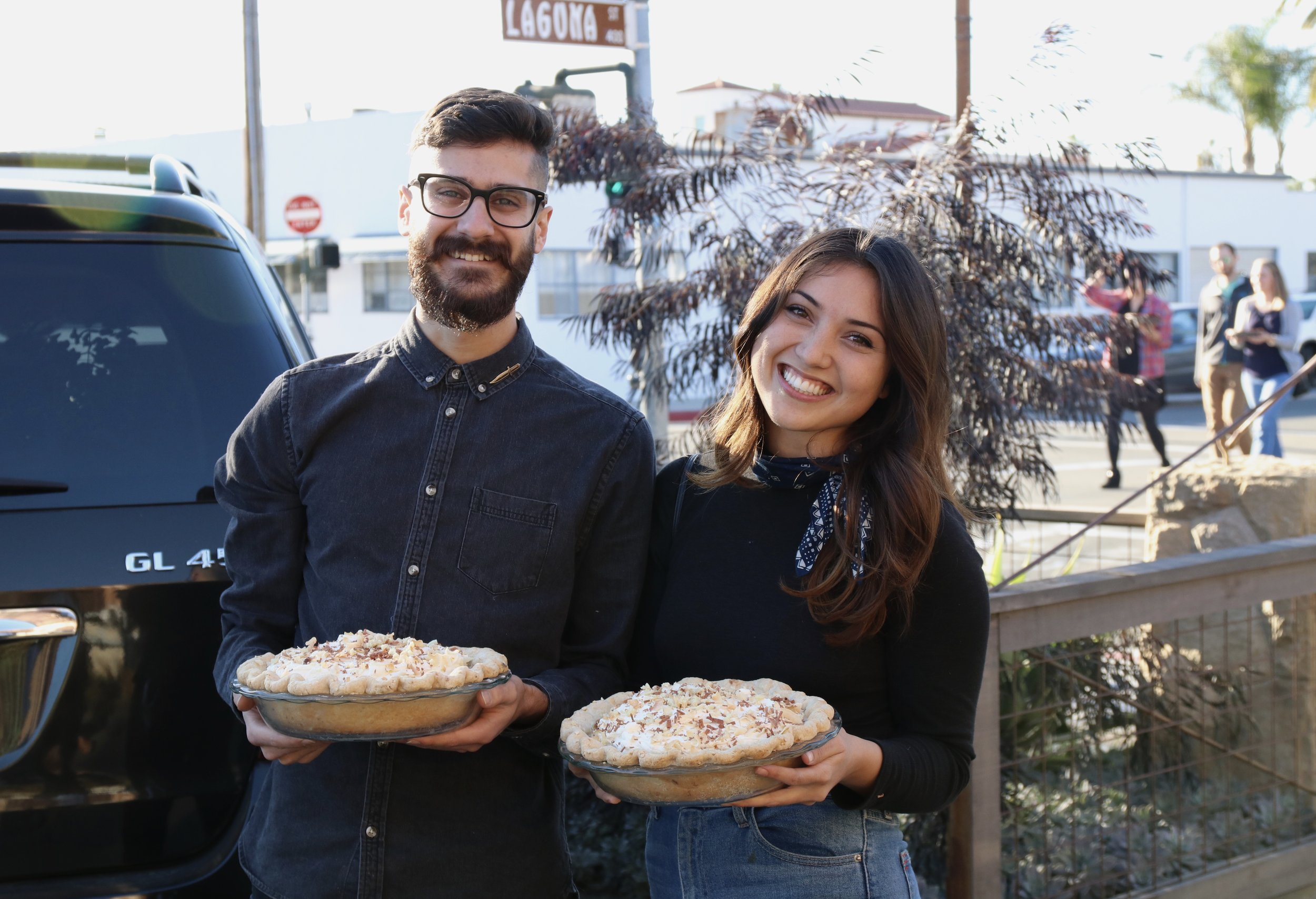 The cutest contestants arriving to the event.  Every contestant has to bake two identical pies.