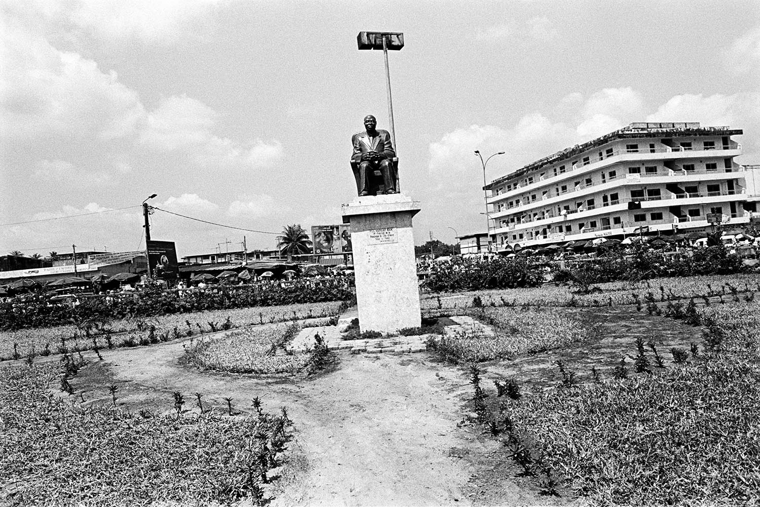 A statue of Felix Houphouet-Boigny stands in Abidjan. As Cote d'Ivoire's first president from 1960 to 1993, Houphouet-Boigny encouraged foreigners from surrounding countries and people from northern Cote d'Ivoire to immigrate to the south to develop Cote d'Ivoire's growing agricultural sector.
