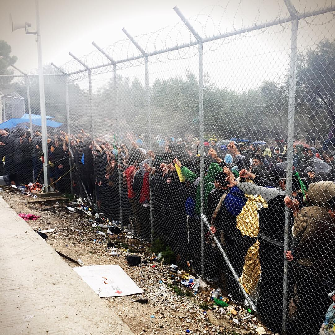 Photo taken by Linda Wassell, volunteer from Sweden, of the line for registration at Moria.