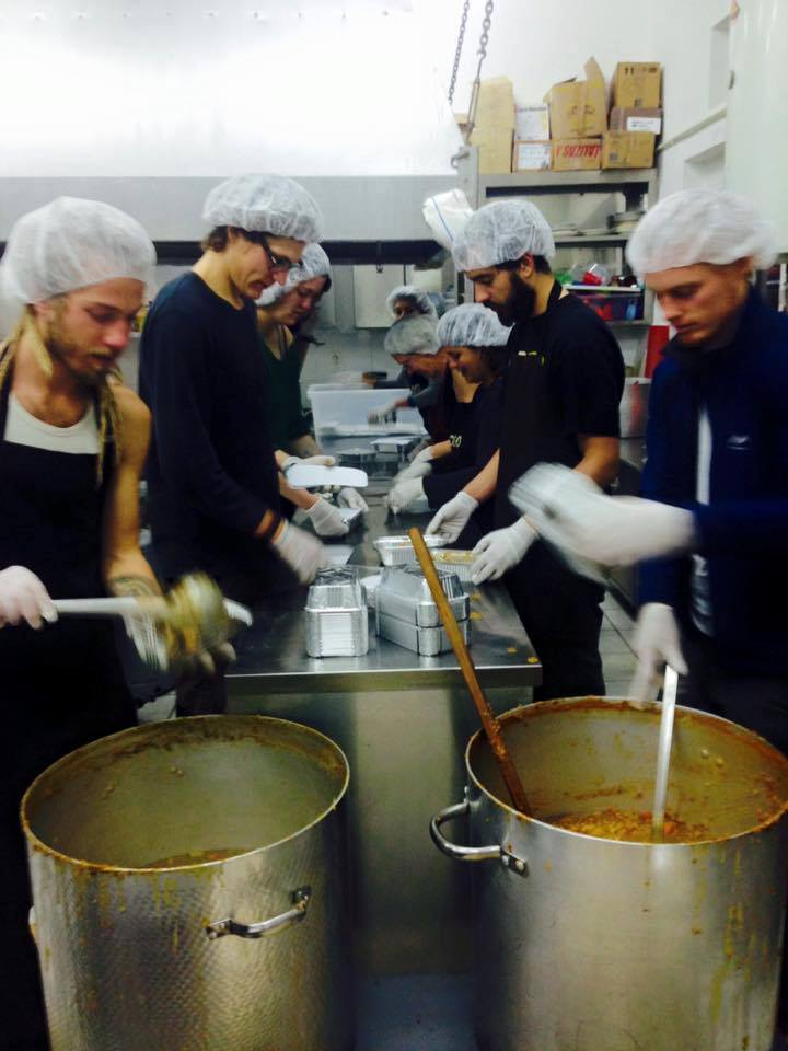 Pikpa kitchen, where they make and package up warm meals to serve at Moria