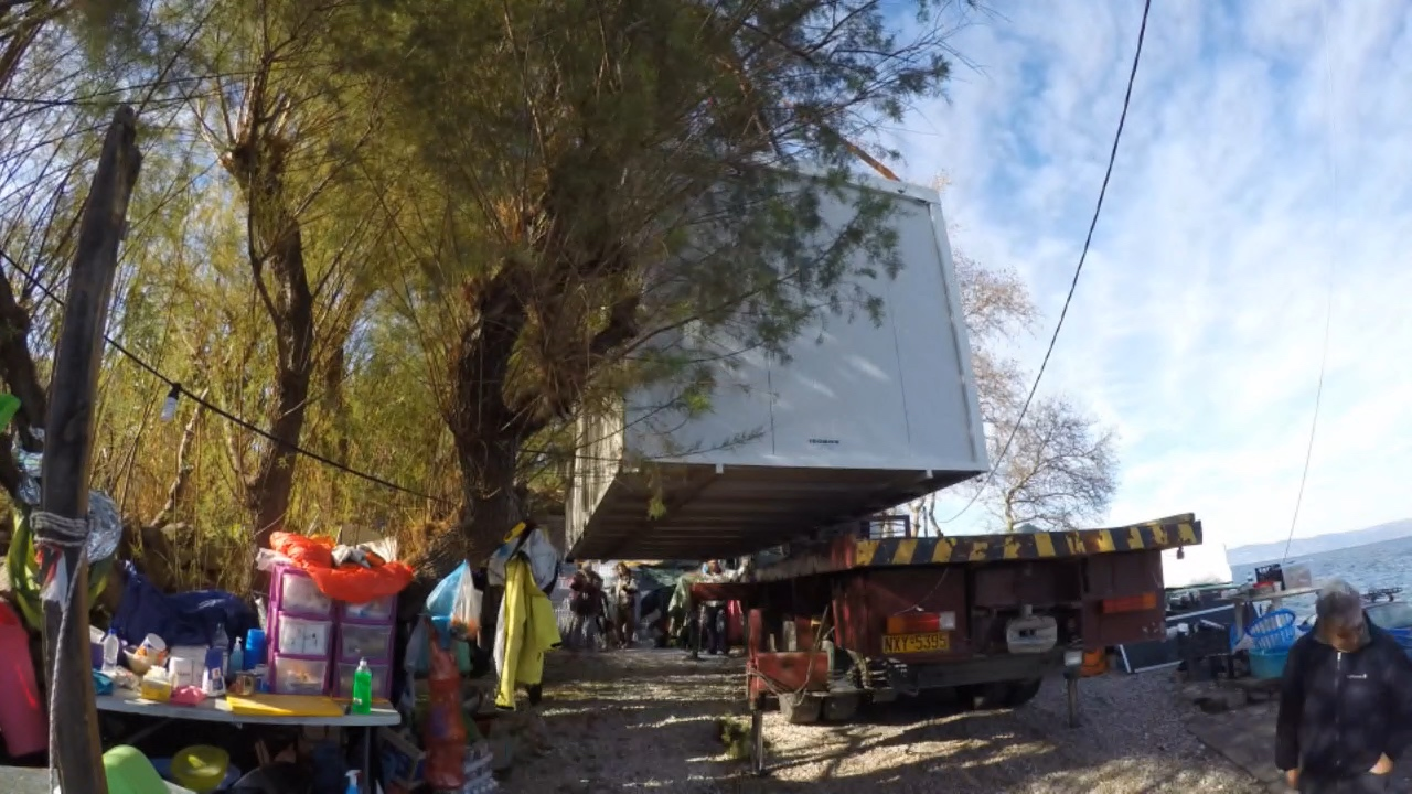 The Isobox being installed at Platanos camp, Skala Sycamineas, Lesvos