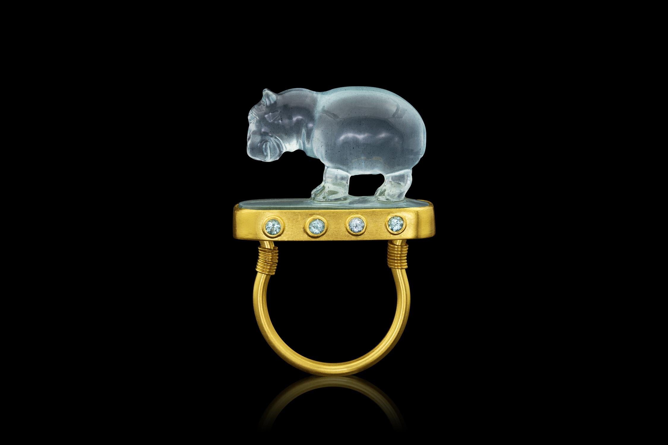 AMULET RING: TAWARET 22k yellow gold, Aquamarine, Paraiba Tourmaline