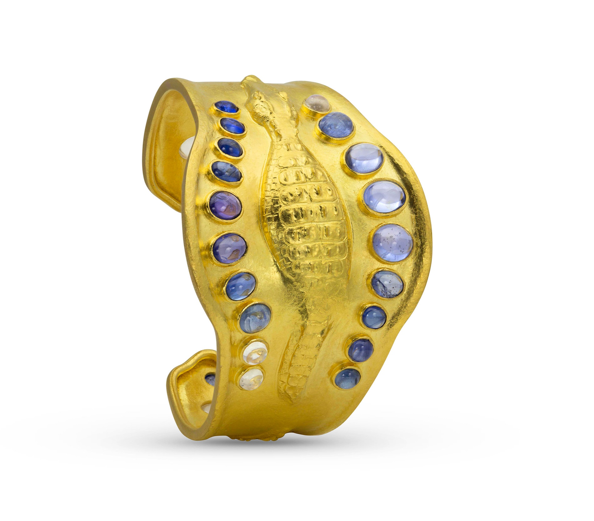DANGEROUS CREATURE: IN THE NILE 22k yellow gold, Sapphire, Moonstone