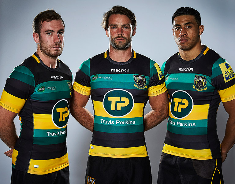 From left to right: JJ Hanrahan, Ben Foden, George Pisi