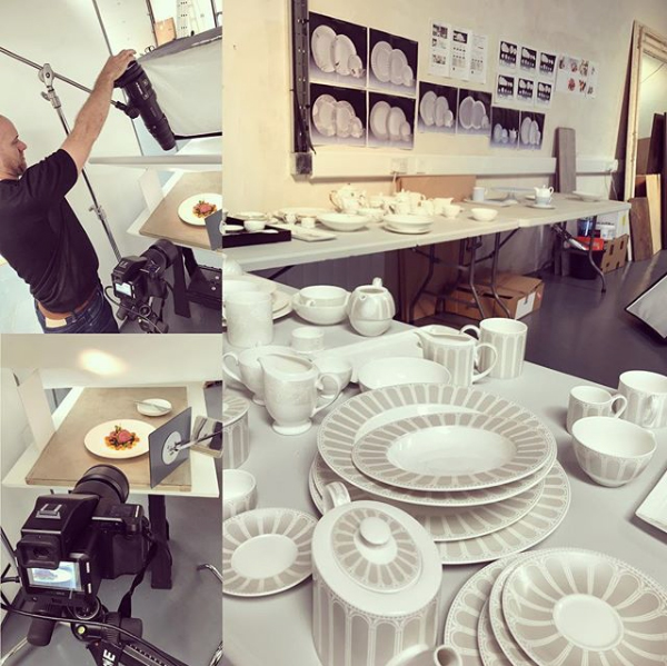 Craig Fraser on set shooting the new ranges of crockery at Frasershot Studios - Northamptonshire