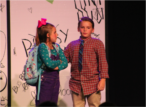 Tye providing fatherly advice to Junie B. Jones during the July 29,2016 performance.