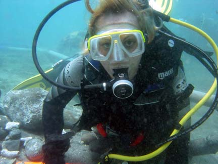 Florence working on The   White House Bay Wreck   in St Kitts