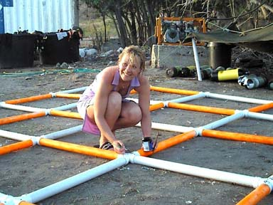 Florence painting the grid numbers for the   White House Bay Wreck   survey grid