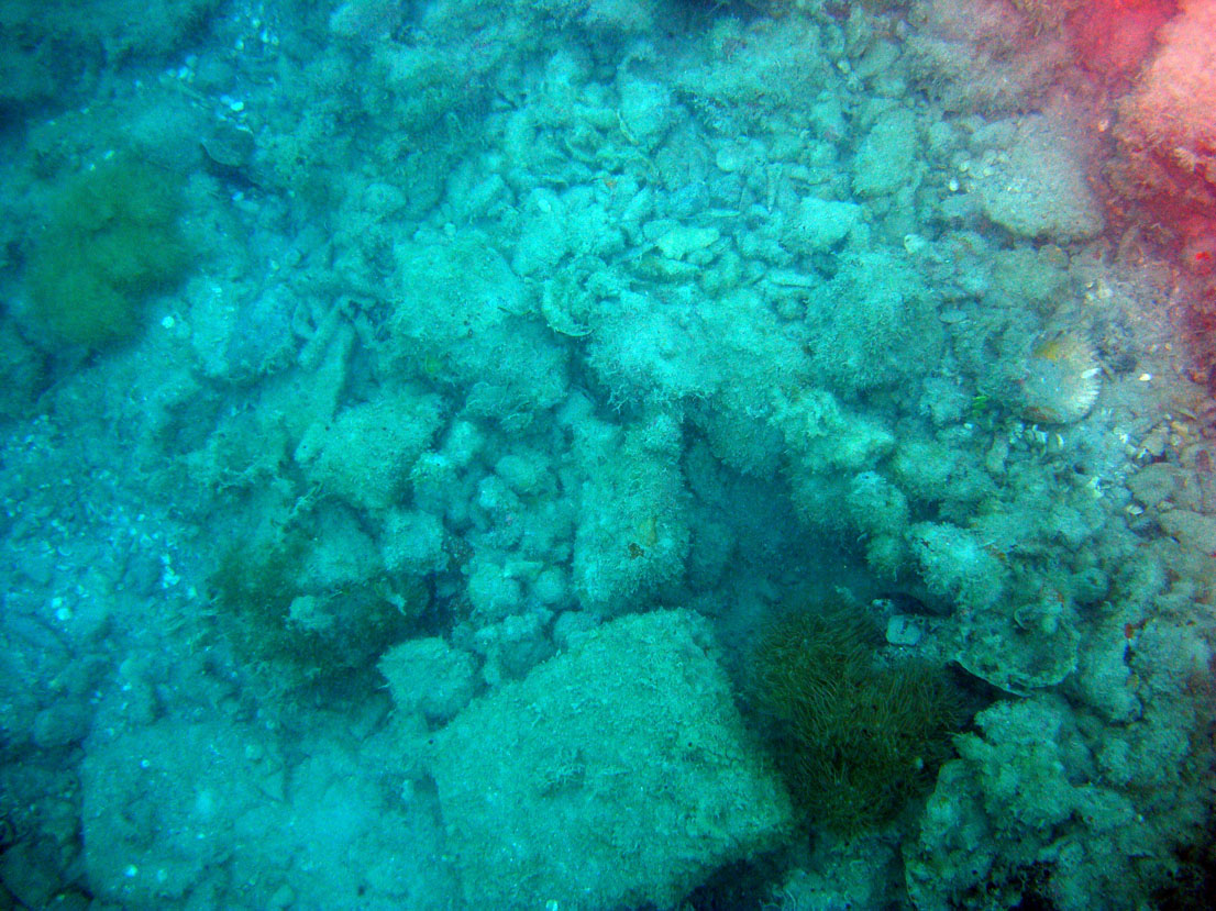 "The centre section of the ""Wreck Two"" in Monte Cristi Bay wreck site with many galley bricks, some mast rings and metallic items"