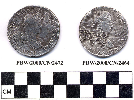 Silver coins after ONPCS conservation. These were some of the coins which were in a barrel to the right of the captains door in his cabin