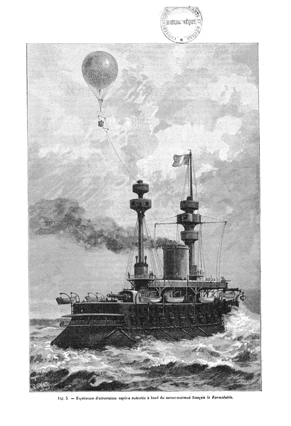 Engraving of the French battleship   Admiral Baudin   with a recon balloon