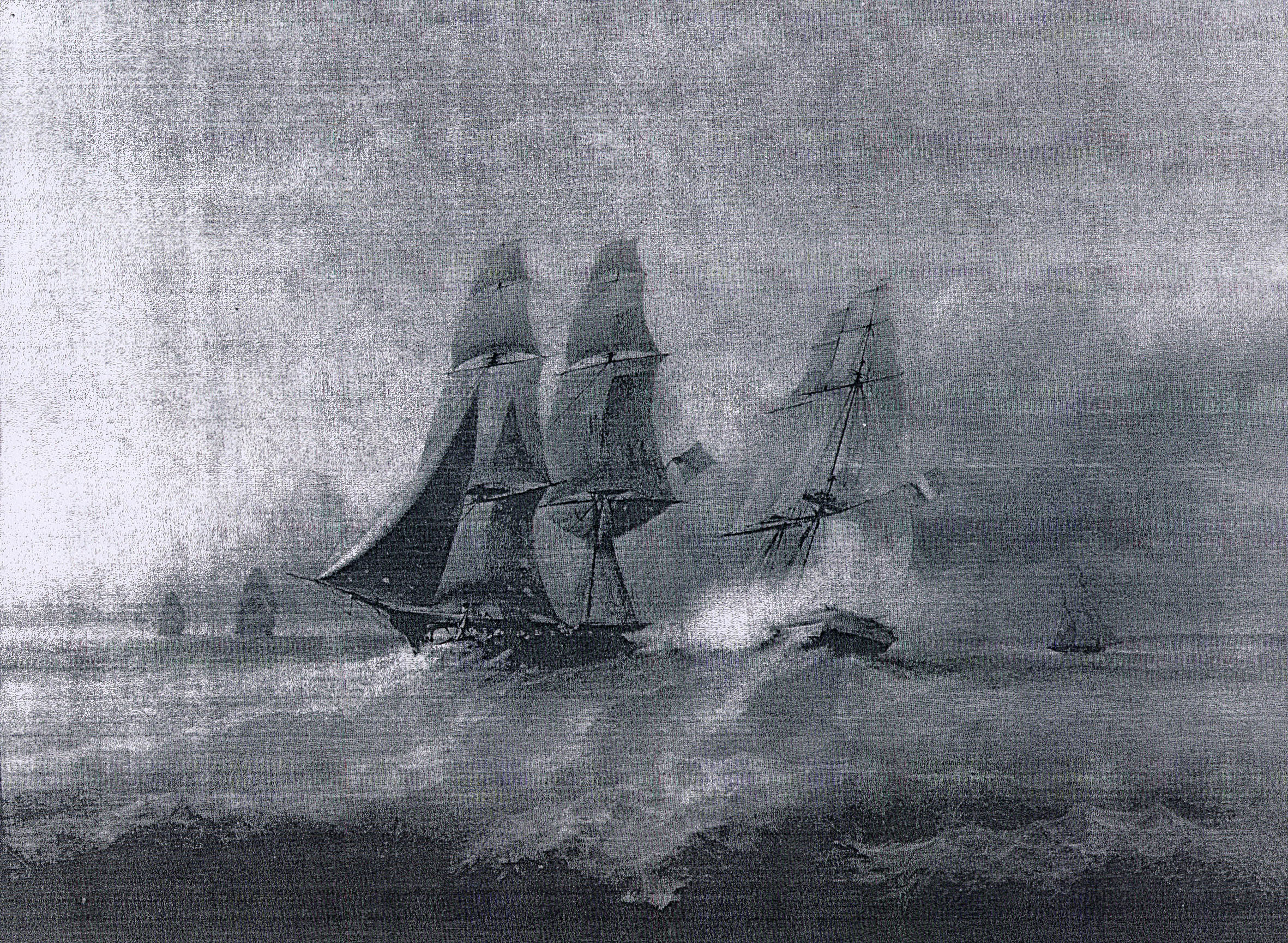 A photograph of the painting of the battle between the French Brig   Renard   and the English Brig   HMS Swallow   in 1812