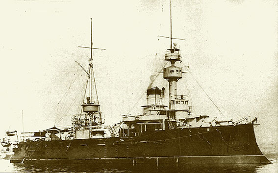 1888 Photograph of the French battleship   Admiral Baudin