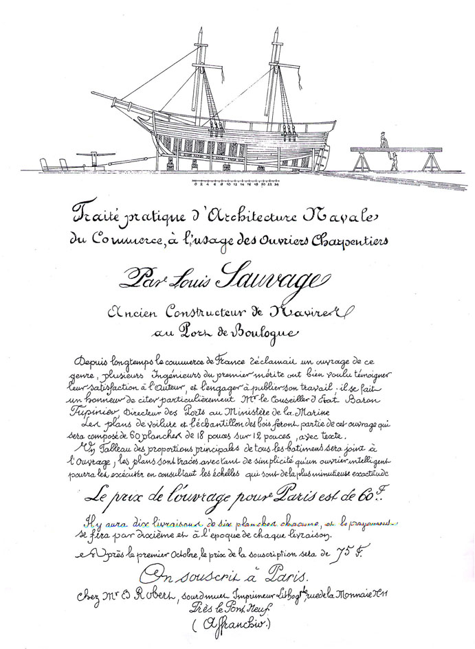The front page of the investigation by Louis Sauvage, outlining the defects of the construction of the   Le Casimir   classships. The sketch shows what   Le Casimir   looked like while being built