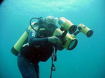 Maritime archaeologist Christine Nielsen filming the wreck site