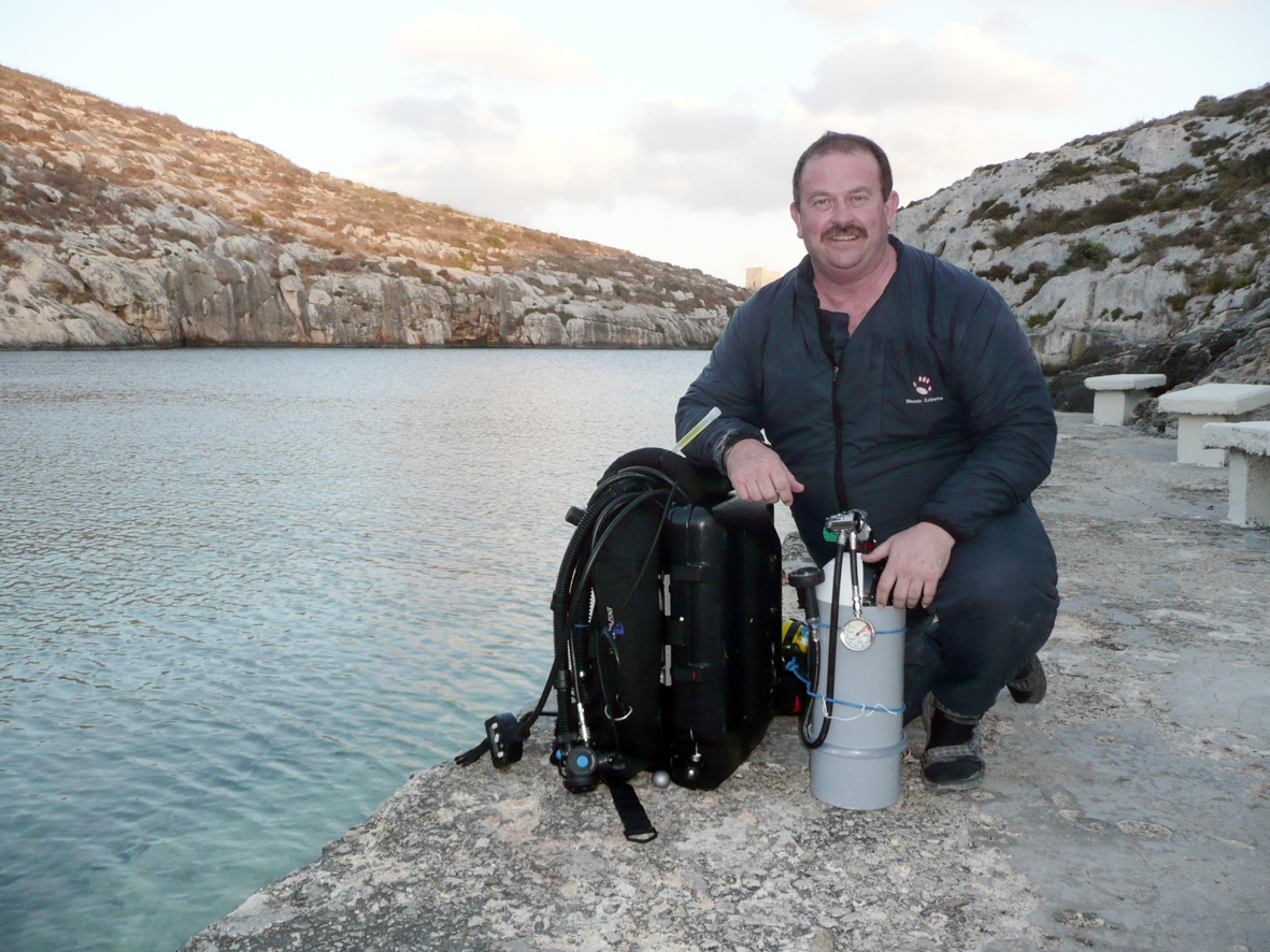 Jeremy diving with a rebreather in Gozo