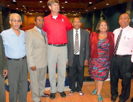 From left to right, Dario Genao, Genaro Rodriguez, Dr. Simon Spooner, Tony Cord, Flavia Disla and Genaro Peña.
