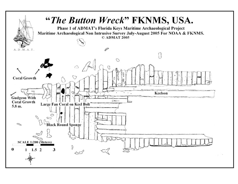 The special version of   The Button Wreck   site plan to be used for divers underwater slates, drawn by Dr. Spooner for Mr. Makepease