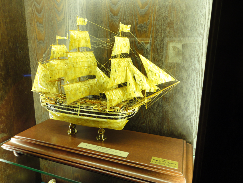 The famous model of HMS Victory made out of amber