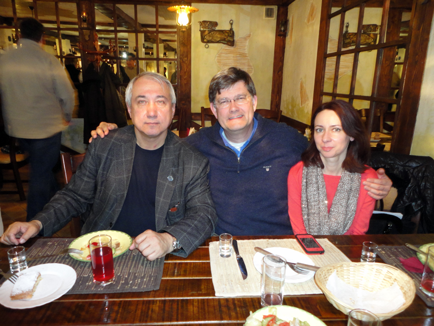 Professor Sergey Fazlullin, in charge of all maritime archaeology for the Russian Federation, Dr Spooner and Associate Professor Iryna Symonkina, enjoying Russian hospertality