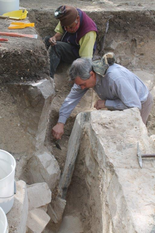 Dr Gendron in action at the Monte Alban excavation site in Mexico.