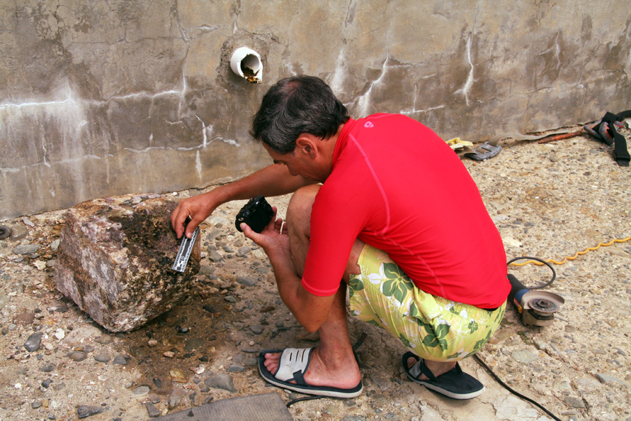 Dr Gendron analysing the granite blocks from   The Island Wreck