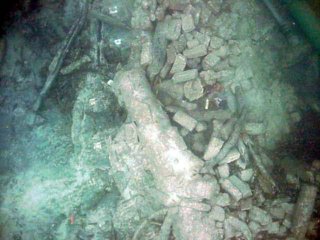 Cannon No:1 and the remains of the galley bricks in the bow