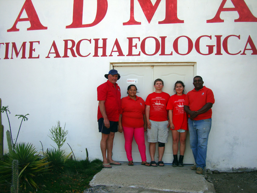 Some of the small survey team for Wreck One, Raimund Krob (Team Leader), Blianka, Wesley Korpela, Laura Whitehead and Rami
